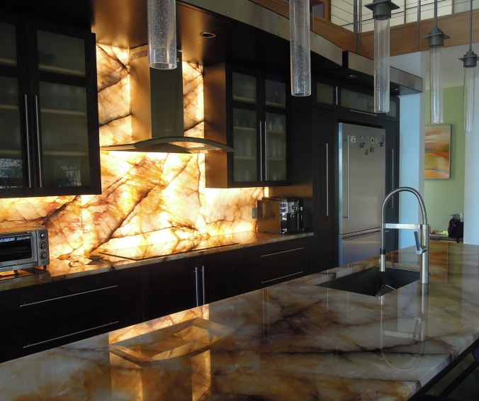 Illuminated Quartzite | concept on lighted pot rack kitchen, mirror and light kitchen, lighted cabinet kitchen, can lights in kitchen,